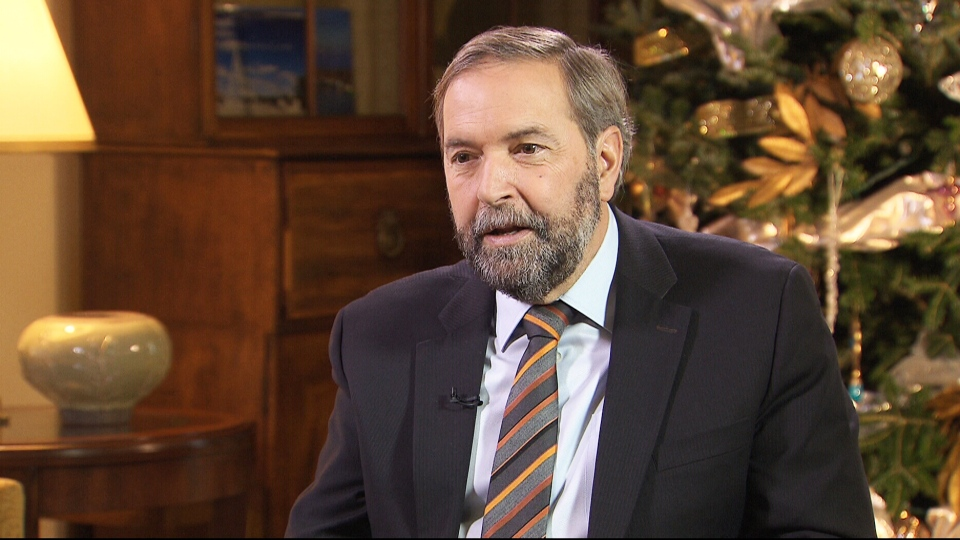 Thomas Mulcair is seen here on CTV's Question Period.