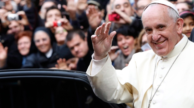 Pope Francis leaves Rome's Jesus' Church