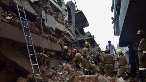 Collapsed building in Canacona, India