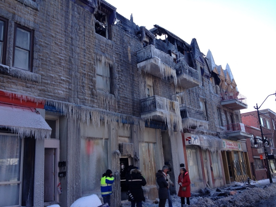The Montreal police arson squad is investigating a five-alarm fire that tore through a building in the Hochelaga-Maisonneuve district Friday. (Kevin Gallagher/CTV Montreal)