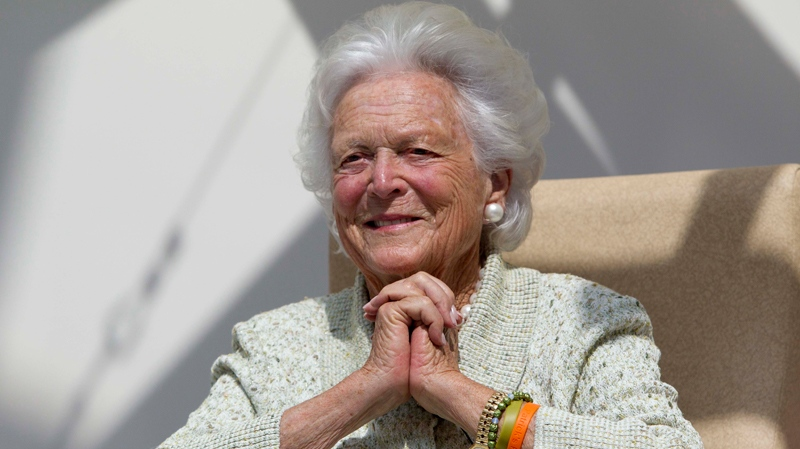 Former first lady Barbara Bush listens to a patient's question during a visit to the Barbara Bush Children's Hospital at Maine Medical Center in Portland, Maine,Thursday, Aug. 22, 2013. (AP / Robert F. Bukaty)