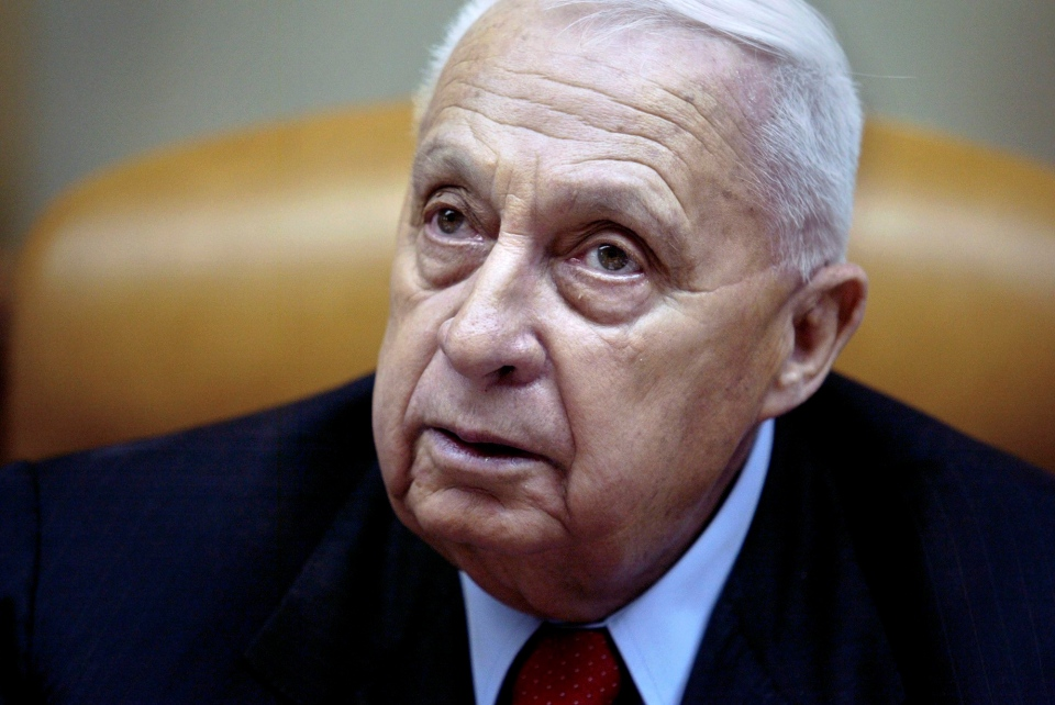 Israeli Prime Minister Ariel Sharon pauses during the weekly cabinet meeting in his Jerusalem office on Sunday Jan. 30, 2005. (AP / Oded Balilty)