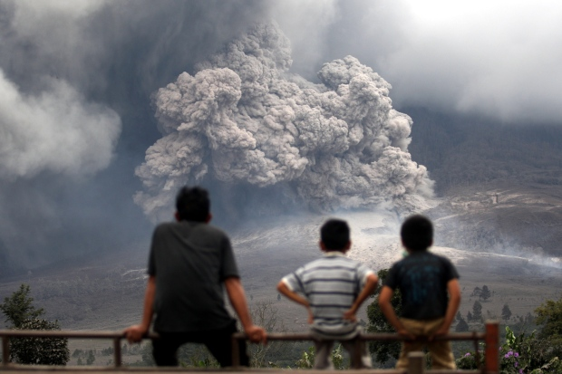 Mount Sinabung erupts in North Sumatra, Indonesia