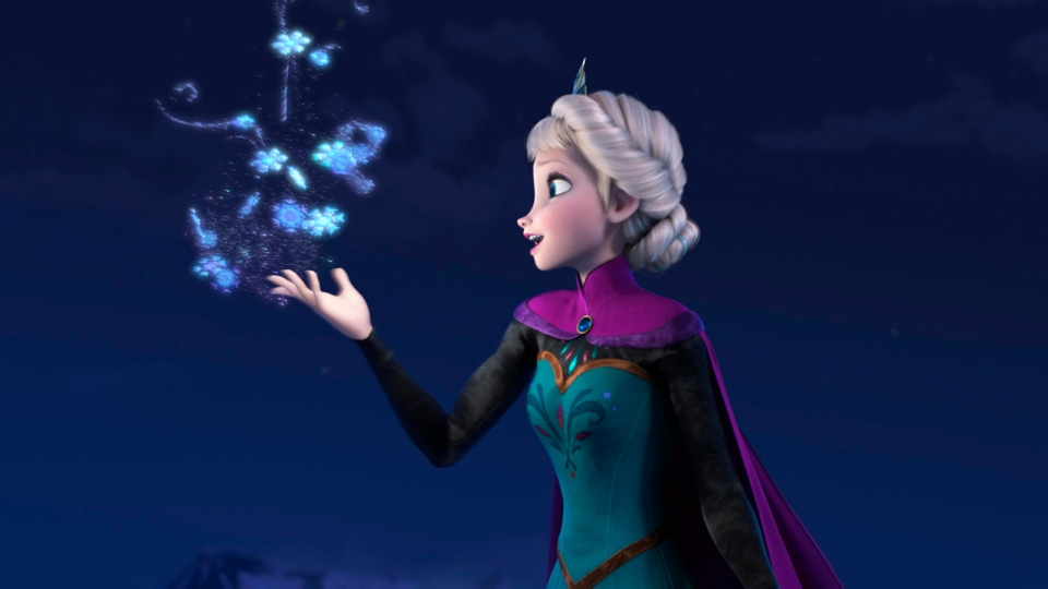 This file image provided by Disney shows Elsa the Snow Queen, voiced by Idina Menzel, in a scene from the animated feature 'Frozen.' According to studio estimates Sunday, Jan. 5, 2014, Disney's 'Frozen' remained atop the box office with $20.7 million, freezing out the horror spinoff 'Paranormal Activity: The Marked Ones.' (AP / Disney, File)