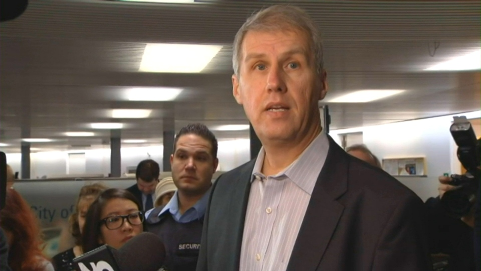 Mayoral candidate David Soknacki speaks to reporters after registering for the 2014 municipal election at city hall on Monday, Jan. 6, 2014.