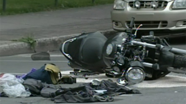 A 39-year-old paramedic was riding this motorcycle when he was hit by a firetruck at the corner of Iberville St. and de Maisonneuve Blvd. (August 16, 2011)