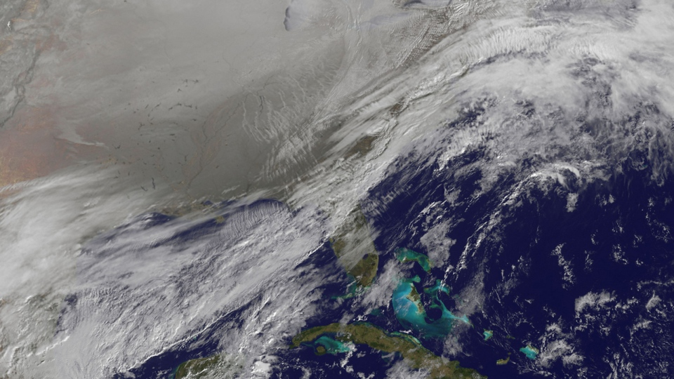 In this image provided by NASA's Goddard Space Flight Centre, a satellite image shows the entry of the polar vortex into the northern U.S. on Jan. 6, 2014. (Twitter / @NASA_GoddardPix)