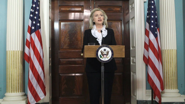 Secretary of State Hillary Rodham Clinton makes a statement about Syria, Thursday, Aug. 18, 2011, at the State Department in Washington. (AP / Luis M. Alvarez)