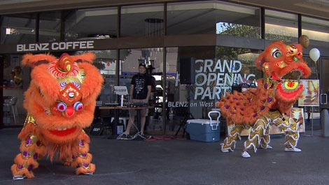 Chinese dragon dancers perform during the reopening of the Blenz coffee shop at 495 West Georgia St. in Vancouver. Aug. 19, 2011. (CTV)