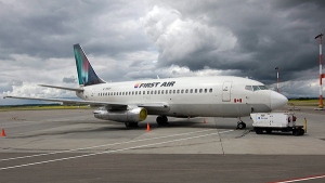 A Boeing 737 (737-200) jetliner belonging to First Air is shown in Edmonton, Alberta, on July 15, 2009. (THE CANADIAN PRESS/Larry MacDougal)