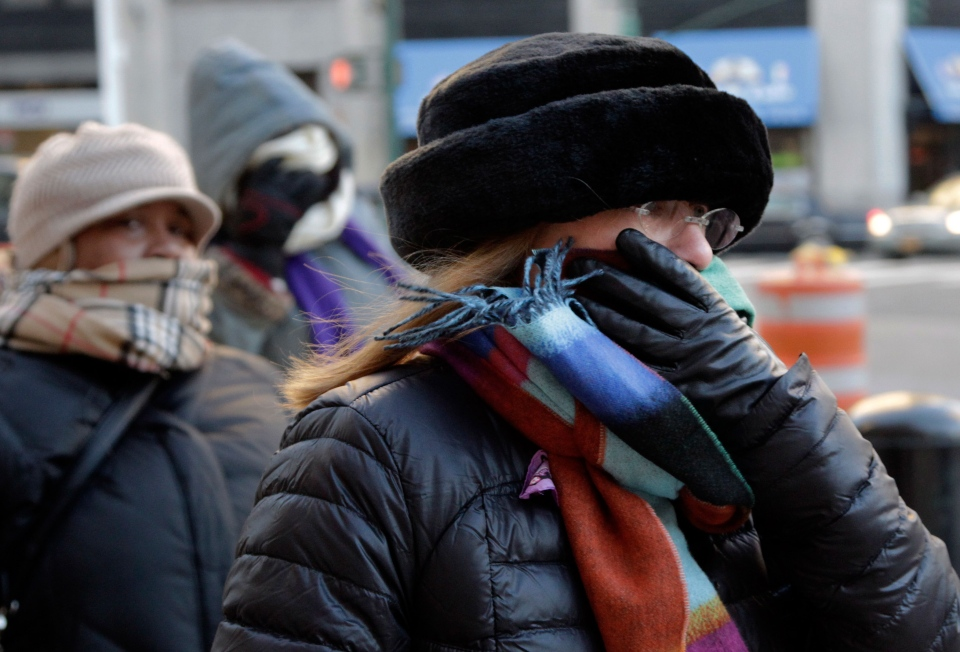 People bundle up against the cold, Tuesday, Jan. 7, 2014, in New York.  (AP / Mark Lennihan)
