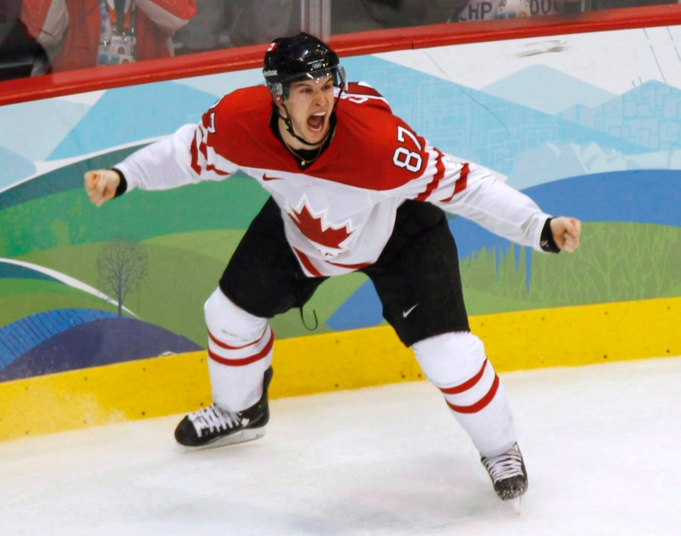 Canada's Sidney Crosby celebrates his game winning goal during overtime period in the men's ice hockey gold medal final at the 2010 Winter Olympic Games in Vancouver on Feb. 28, 2010. (Paul Chiasson / THE CANADIAN PRESS)