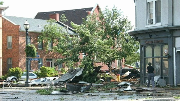 Damage on the streets of Goderich, Ont. after a tornado tore through the town Sunday, Aug. 21, 2011. (Paul Mcmullen)