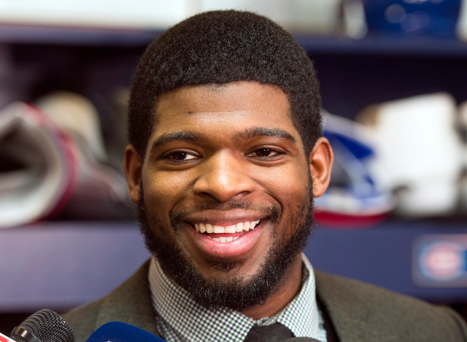 Montreal Canadiens defenceman P.K. Subban speaks to reporters after the team's practice Tuesday, Jan. 7, 2014 in Brossard, Que. Subban has been named to Canada's Olympic hockey team.  (Ryan Remiorz / THE CANADIAN PRESS)