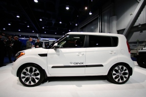 QNX technology concept car for acoustics based on a modified Kia Soul is showcased at the International Consumer Electronics Show (CES) in Las Vegas on Tuesday, Jan. 7, 2014. (AP / Jae C. Hong)