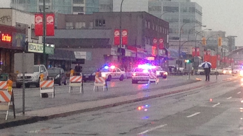 Burnaby RCMP investigate after a shooting inside a Cactus Club near Metrotown left one person injured. Jan. 7, 2014. (CTV)