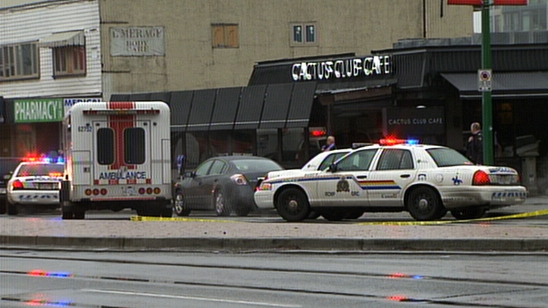 Burnaby RCMP investigate a shooting at a Cactus Club restaurant that left a man with non-life threatening injuries. A suspect has not been located. Jan. 7, 2014. (CTV)