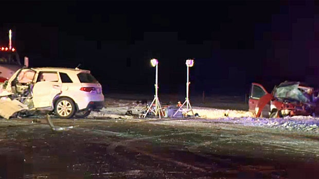 The head-on crash on Highway 27 near Olds killed three and injured four.