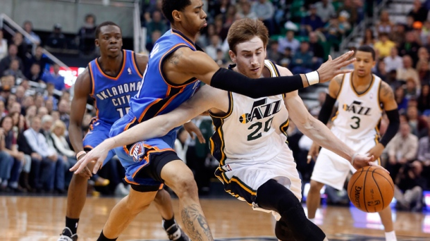 Jeremy Lamb defends Utah Jazz guard Gordon Hayward