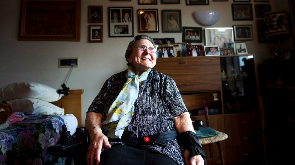 Rebecca Koch, 100, sits in her room she calls 'a museum' at the Baycrest Centre in Toronto on Monday, April 23, 2012. (THE CANADIAN PRESS / Nathan Denette)