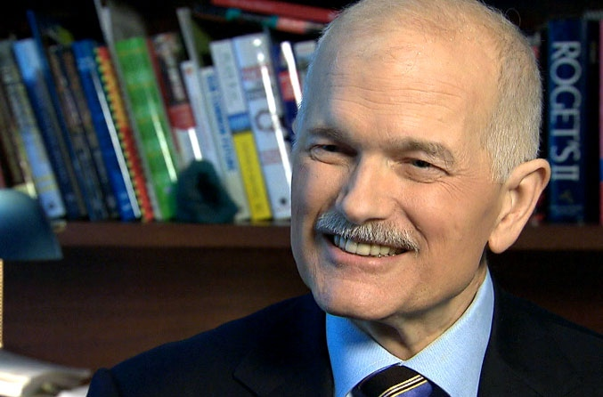 NDP Leader Jack Layton smiles during an interview with Lisa LaFlamme on budget day 2011. Layton, the beloved NDP leader, died Monday after a battle with cancer.