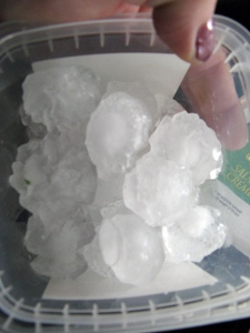 MyNews contributor Ingrid Hartman shared this photo of golf-ball sized hail in Goderich, Ont., on Sunday, Aug. 21, 2011. (Ingrid Hartman / MyNews.CTV.ca)
