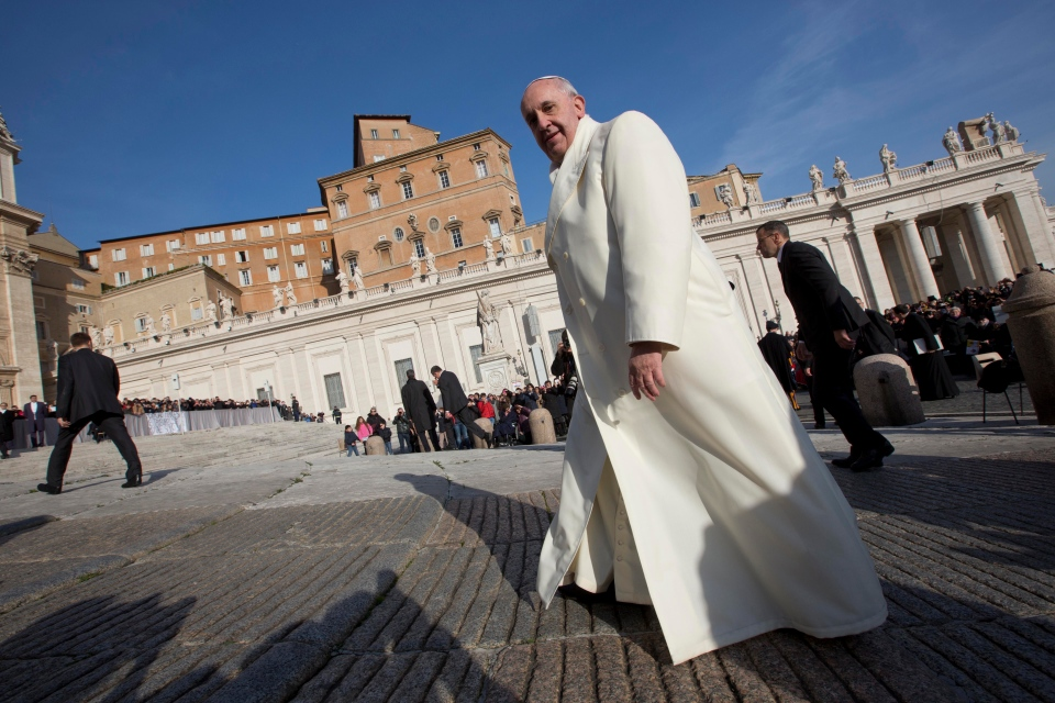 Pope Francis arrives for his weekly general audience in St. Peter's Square at the Vatican, Wednesday, Jan. 8, 2014. (AP / Alessandra Tarantino)