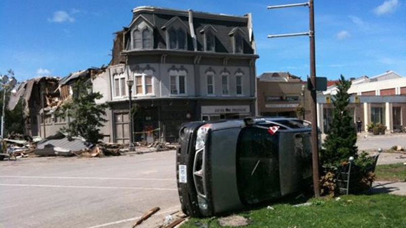 Damage is seen a day after a tornado in Goderich, Ont. on Monday, Aug. 22, 2011. (Shaheed Devji / CTV News)