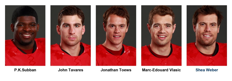 Headshots of Team Canada hockey players for the Sochi 2014 Olympic games. From left: P.K.Subban, John Tavares, Jonathan Toews, Marc-Edouard Vlasic and Shea Weber are pictured. (THE CANADIAN PRESS/Hockey Canada - Jeff Vinnick)
