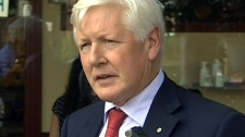 Liberal Leader Bob Rae comments on the passing of Jack Layton outside his constituency office in Toronto, Monday, Aug. 22, 2011.