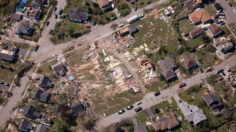 Parts of Goderich, Ont., sit in ruins Monday, Aug. 22, 2011, after a tornado ripped through the town Sunday. (Geoff Robins / THE CANADIAN PRESS)