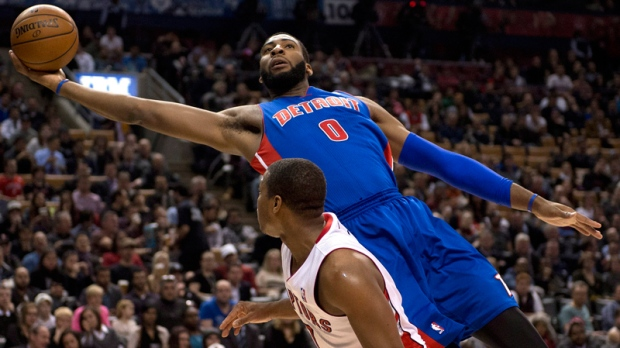 Detroit Pistons' Andre Drummond soars over Lowry