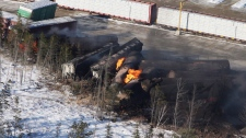 Derailed train in Plaster Rock, N.B.