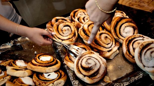 Cinnamon rolls in Copenhagen, Denmark