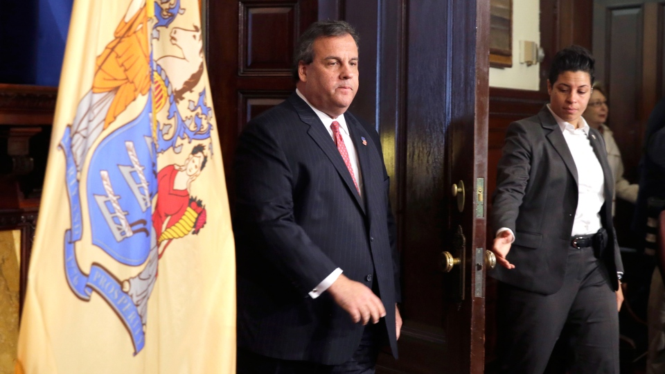 New Jersey Gov. Chris Christie enters a news conference at the Statehouse in Trenton, N.J., Thursday, Jan. 9, 2014. (AP / Mel Evans)