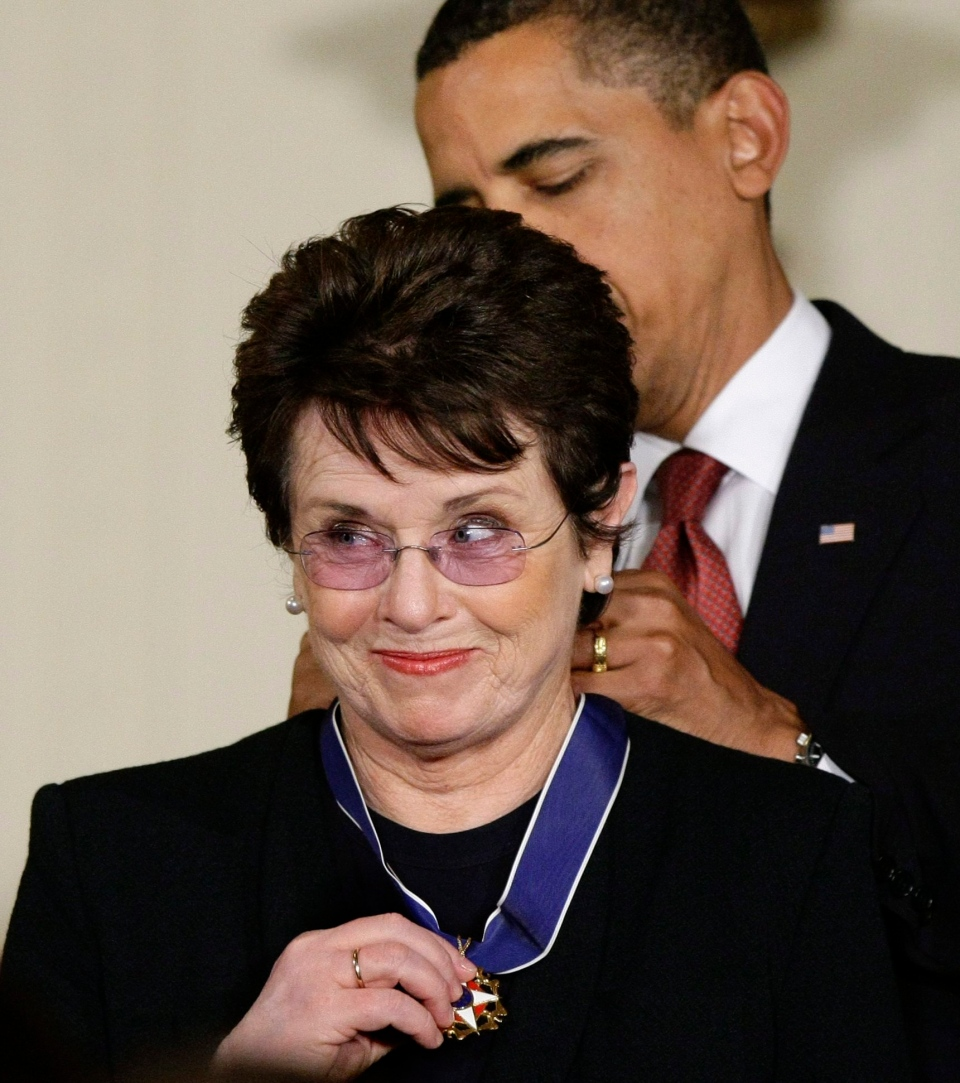 "President Barack Obama presents the 2009 Presidential Medal of Freedom to Billie Jean King, known for winning the famous ""Battle of the Sexes"" tennis match, and championing gender equality issues. (AP Photo/J. Scott Applewhite, File)"