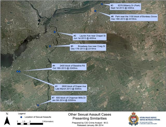 Investigators regularly review cases to look for connections and, at this time, an additional seven cases are suspected but not confirmed as linked to this individual.  (Ottawa Police Handout)