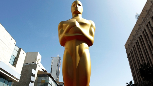 An Oscar statue is seen on the red carpet before the 84th Academy Awards in Los Angeles, Feb. 25, 2012. (AP / Matt Sayles)