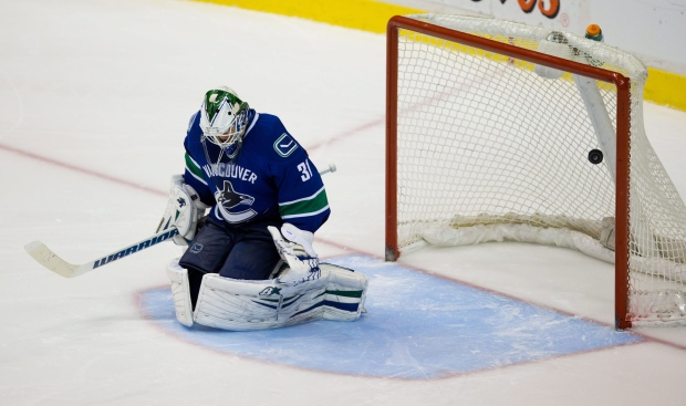 Vancouver Canucks goalie during shootout
