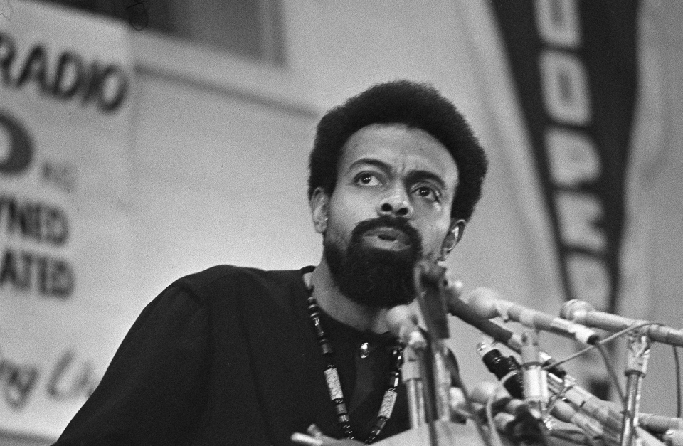 This March 12, 1972 file photo shows poet and social activist Amiri Baraka speaking during the Black Political Convention in Gary, Ind. (AP Photo/Julian C. Wilson)