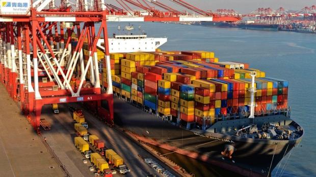 Port at Qingdao, in Shandong, China