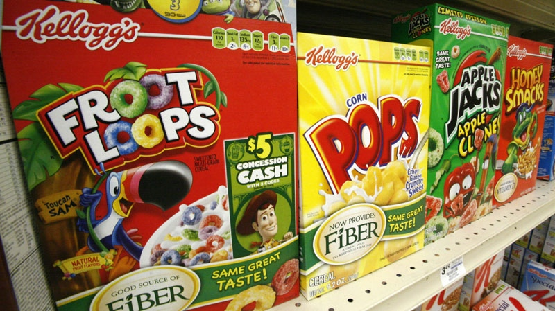 A June 25, 2010 file photo shows boxes of Kellogg's Froot Loops, Corn Pops, Apple Jacks, and Honey Smacks on the shelf of a Mt. Lebanon, Pa., grocery store. (AP Photo/Gene J. Puskar/file)
