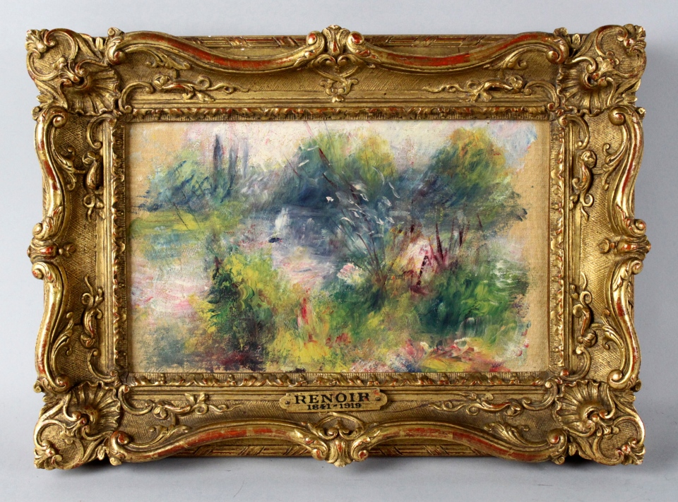 This file image released by Potomack Company shows an apparently original painting by French impressionist Pierre-Auguste Renoir that was acquired by a woman from Virginia who stopped at a flea market in West Virginia and paid $7 for a box of trinkets that included the painting. (AP /Potomack Company)