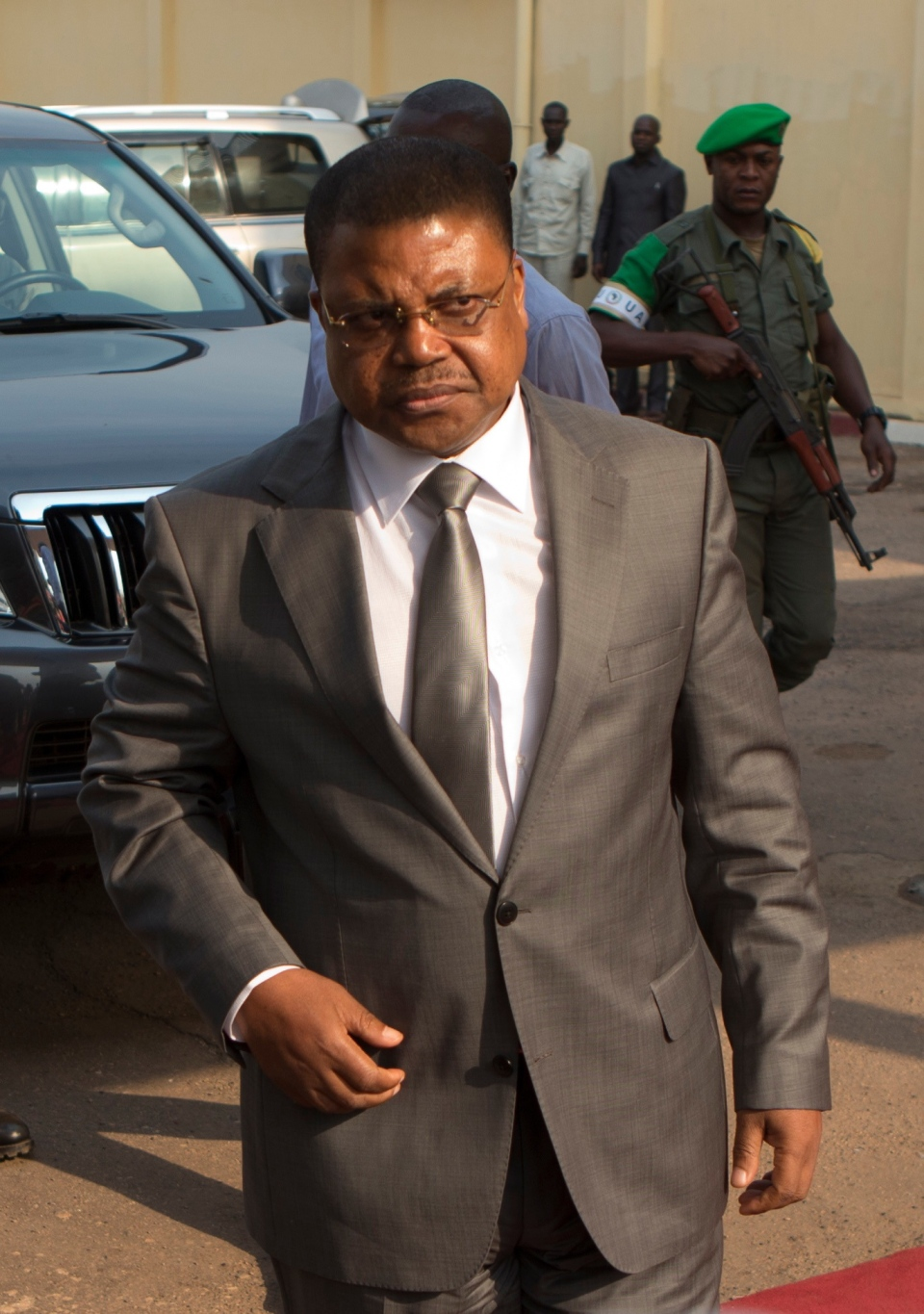 This is a Wednesday, Jan. 8, 2014 file photo of Central African Republic Prime Minister Nicolas Tiangaye as he arrives at Mpoko Airport, in Bangui, Central African Republic. (AP / Rebecca Blackwell)