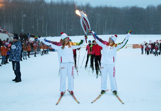Torchbearers on the Sochi 2014 torch run