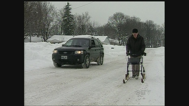 orillia senior finds a way to get around in the snow
