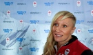 Kaillie Humphries talks with reporters during the announcement of the Canadian bobsled team for the 2014 Olympic Winter Games in Sochi, Monday, December 16, 2013 in Montreal. THE CANADIAN PRESS/Paul Chiasson