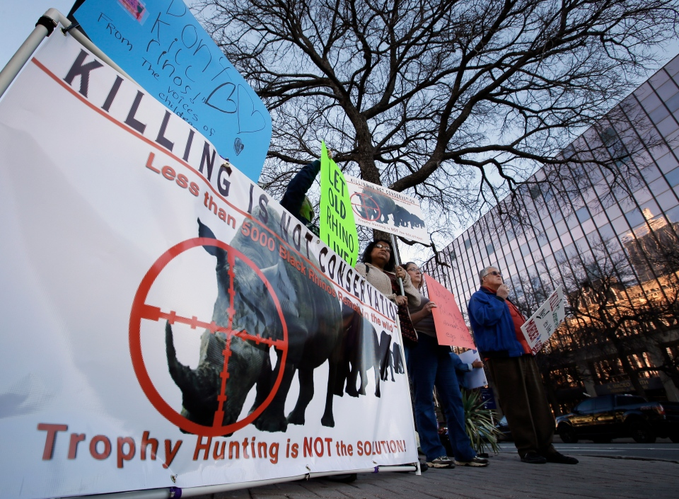 Protesters gather holding signs near the Dallas Convention Center where the Dallas Safari Club is holding its weekend show and auction on Jan. 11, 2014. (AP / Tony Gutierrez)