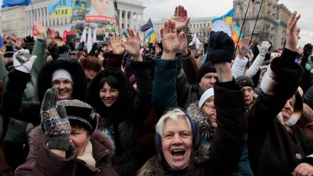 Pro-European Union activists in Ukraine