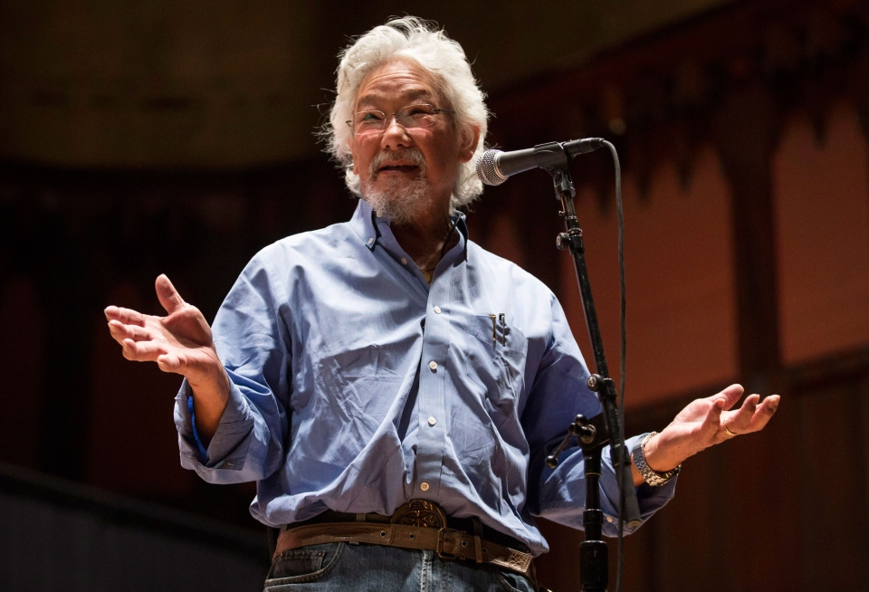 "Environmentalist David Suzuki during a press conference for the ""Honour the Treaties"" tour, a series benefit concerts being held to raise money for legal fight against the expansion of the Athabasca oilsands in northern Alberta and other similar projects, in Toronto, Sunday, Jan. 12, 2014. (Mark Blinch / THE CANADIAN PRESS)"